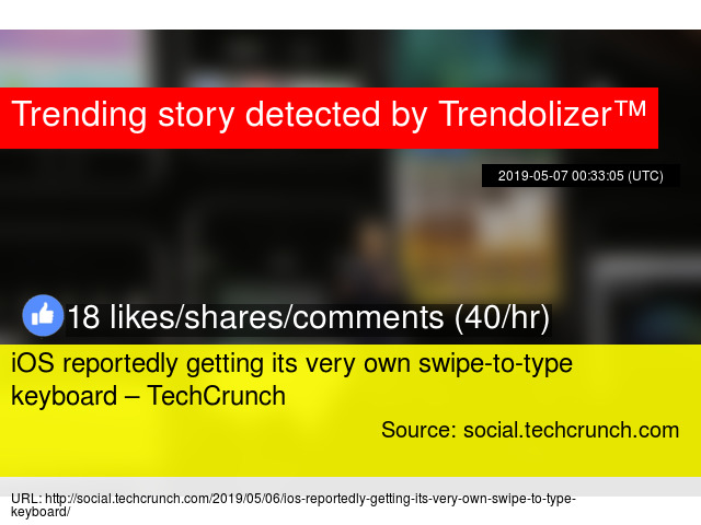 f03dd244c71 iOS reportedly getting its very own swipe-to-type keyboard – TechCrunch -  Stats