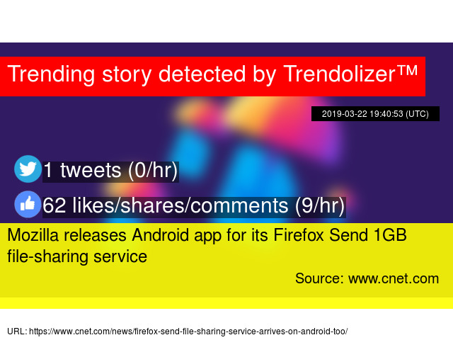 Mozilla releases Android app for its Firefox Send 1GB file