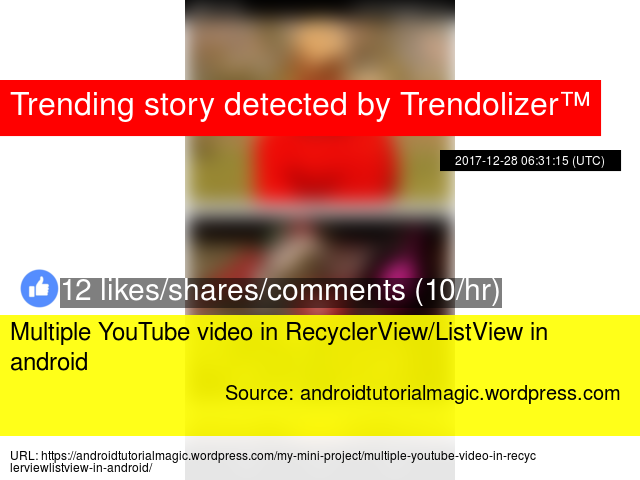 Multiple YouTube video in RecyclerView/ListView in android